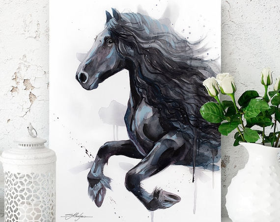 Friesian Horse watercolor painting print by Slaveika Aladjova, animal art, illustration,wall art, home decor, wildlife, gift, Giclee Print