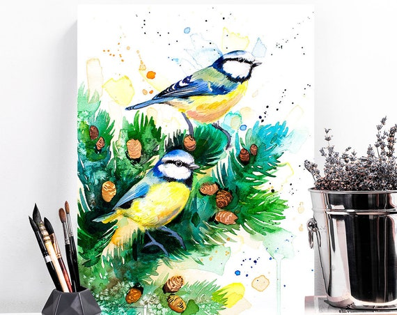 Eurasian blue tit watercolor painting print by Slaveika Aladjova, art, animal, illustration, bird, home decor, wall art, gift, portrait,