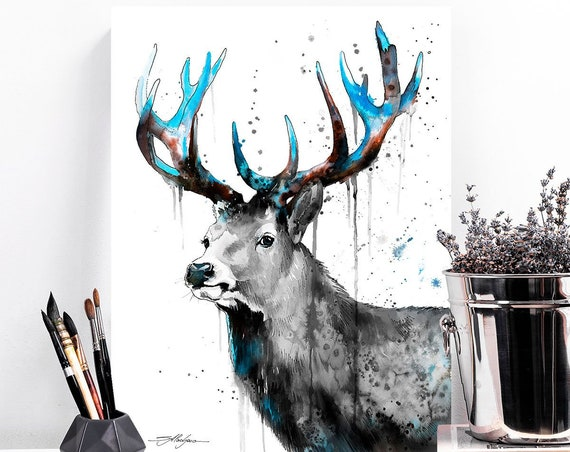 Black and White Deer watercolor painting print by Slaveika Aladjova, art, animal, illustration, home decor, Nursery, gift,Wildlife, wall art