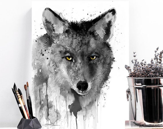 Black and white Coyote watercolor painting print by Slaveika Aladjova, art, animal, illustration, home decor, wall art, Contemporary