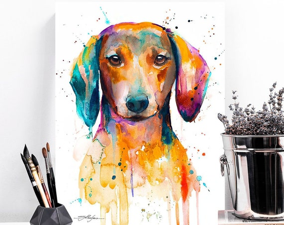 Red Dachshund watercolor painting print by Slaveika Aladjova, art, animal, illustration, home decor, Nursery, gift, Contemporary, dog art
