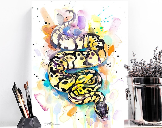 Pastel Ball Python Snake watercolor painting print by Slaveika Aladjova,art, animal, illustration, home decor, wall art, gift, portrait,