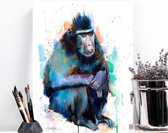 Celebes crested macaque watercolor painting print by Slaveika Aladjova, animal, illustration, home decor, Nursery, gift, Wildlife, monkey