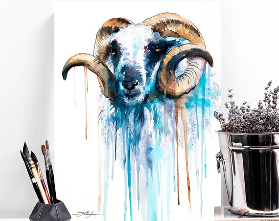 Blue Sheep  watercolor painting print by Slaveika Aladjova, art, animal, illustration, home decor, Nursery, gift, Wildlife, wall art, goat