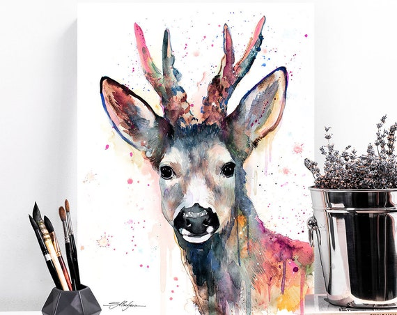Pink Roe deer watercolor painting print by Slaveika Aladjova, art, animal, illustration, home decor, Nursery, gift, Wildlife, wall art