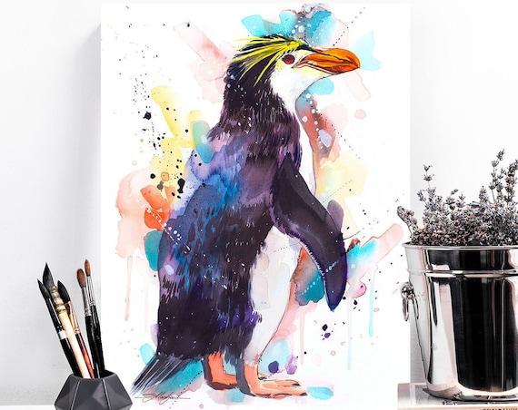 Royal penguin watercolor painting print by Slaveika Aladjova, animal, illustration, Sea art, sea life art, nautical, ocean art, bird