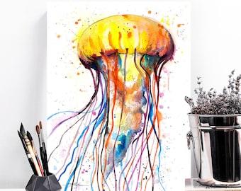 Jellyfish watercolor painting print by Slaveika Aladjova, art, animal, illustration, Sea art, sea life art, home decor, Wall art