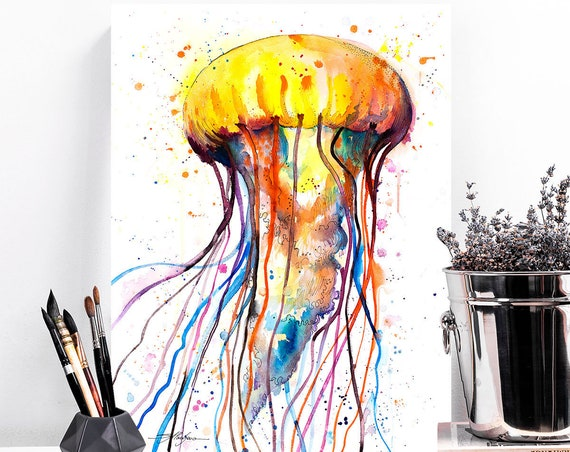 Jellyfish watercolor painting print by Slaveika Aladjova, art, animal, illustration, Sea art, sea life art, home decor, Wall art