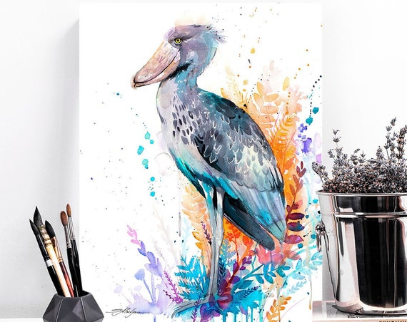 Shoebill watercolor painting print by Slaveika Aladjova, art, animal, illustration, bird, home decor, wall art, gift, Wildlife