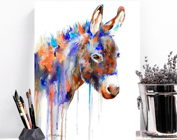 Purple Donkey watercolor painting print by Slaveika Aladjova, animal art, illustration, wall art, home decor, gift, Giclee Print, farm,