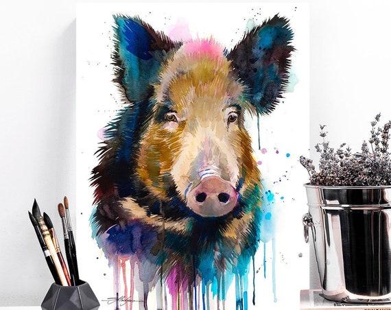 Wild boar watercolor painting print by Slaveika Aladjova, art, animal, illustration, home decor, Nursery, gift, goat, farm, wall art,