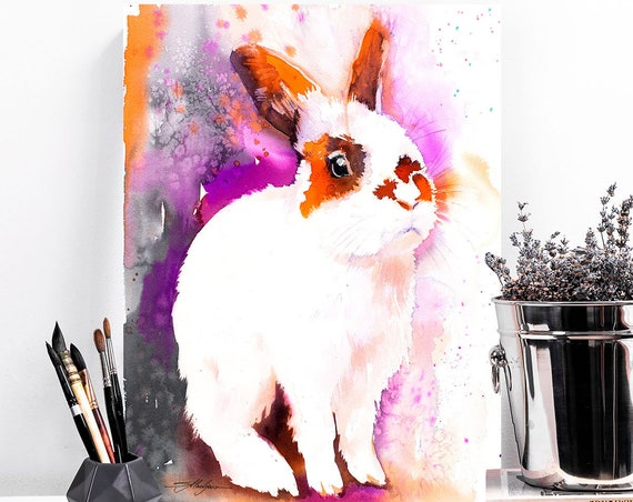 Rabbit  watercolor painting print by Slaveika Aladjova, art, animal, illustration, home decor, Nursery, gift, Wildlife, wall art