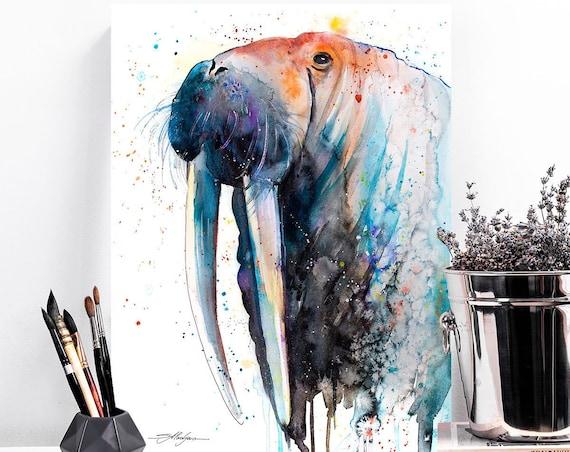Walrus watercolor painting print by Slaveika Aladjova, large print art, animal, illustration, Sea art, sea life art, home decor, Wall art