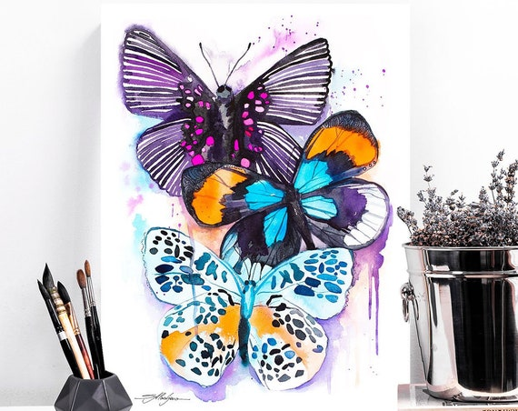 Blue and Purple Butterfly watercolor painting print by Slaveika Aladjova, art, animal, illustration, home decor, Nursery, wall art,
