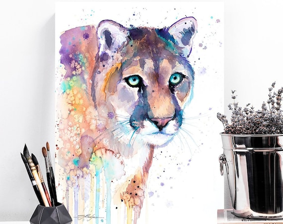 Puma watercolor painting print by Slaveika Aladjova, art, animal, illustration, home decor, wall art, gift, portrait, Contemporary