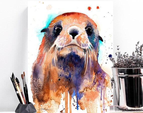 Fur seal watercolor painting print by Slaveika Aladjova, art, animal, illustration, home decor, Nursery, gift, Wildlife, wall art, sea