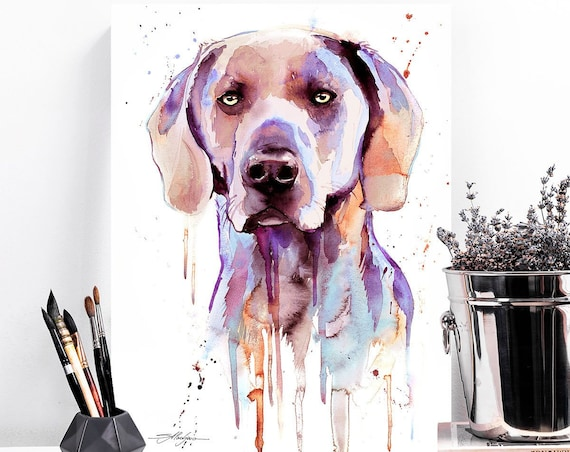 Purple Weimaraner watercolor painting print by Slaveika Aladjova, animal, illustration, home decor, Nursery, Contemporary, dog art, wall art