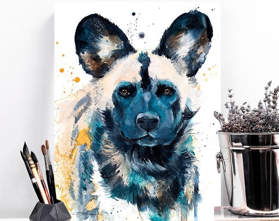 Wild Dog watercolor painting print by Slaveika Aladjova, art, animal, illustration, home decor, Nursery, Wildlife, wall art, Contemporary