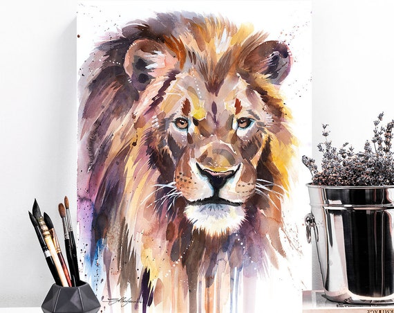 African Lion watercolor painting print by Slaveika Aladjova, art, animal, illustration, home decor, Nursery, Wildlife, wall art, cat, gift