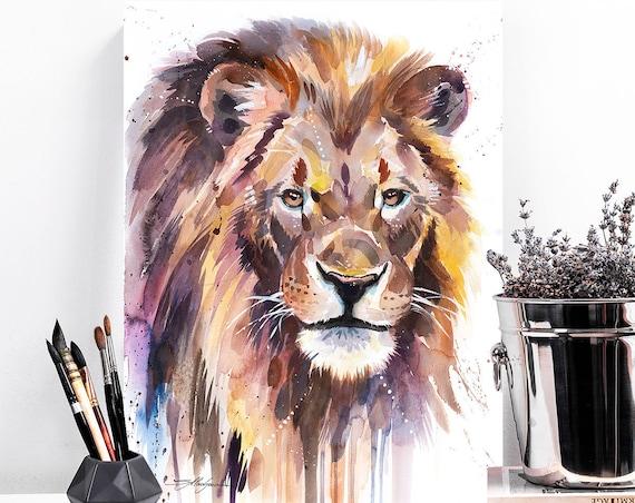 African Lion watercolor painting print by Slaveika Aladjova, art, animal, illustration, home decor, Nursery, Wildlife, wall art, cat, gift