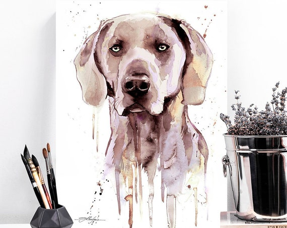 Weimaraner watercolor painting print by Slaveika Aladjova, animal, illustration, home decor, Contemporary, dog art, wall art, large print