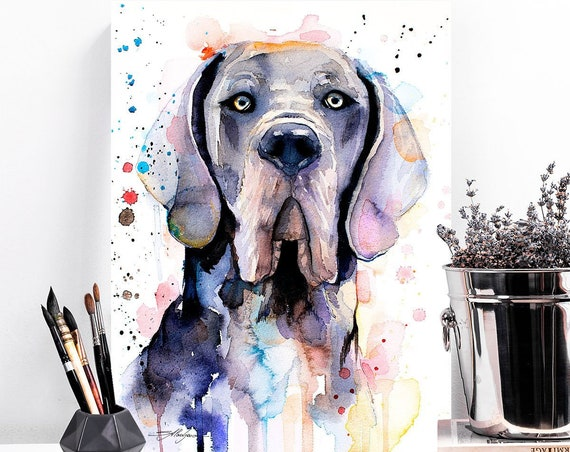 Blue Great Dane watercolor painting print by Slaveika Aladjova, art, animal, illustration, home decor, Nursery, gift, Contemporary, dog art