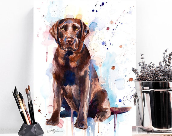Chocolate Labrador watercolor painting print by Slaveika Aladjova, animal, illustration, home decor, Nursery, gift, Contemporary, dog art
