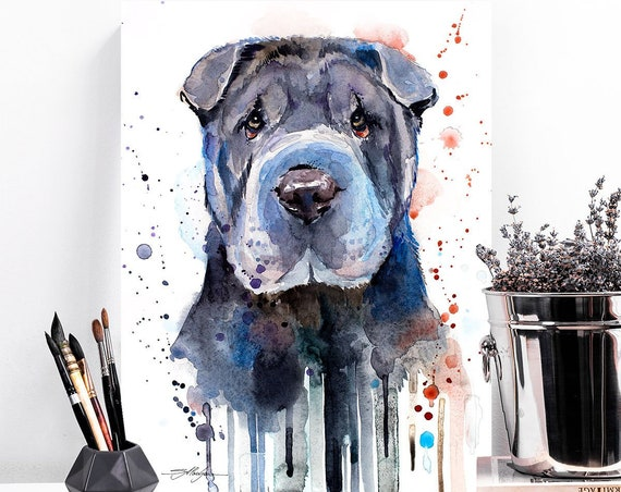 Shar Pei watercolor painting print by Slaveika Aladjova, animal, illustration, home decor, Nursery, Contemporary, dog art, wall art