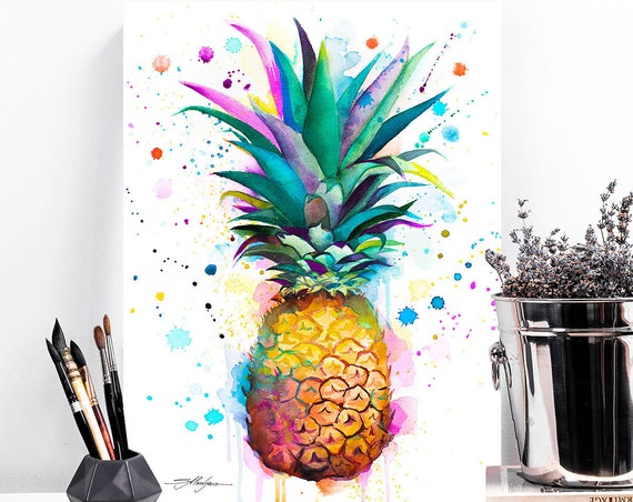 Pineapple watercolor painting print by Slaveika Aladjova, art, illustration, home decor, Contemporary, Kitchen Decor, Modern, Botanical