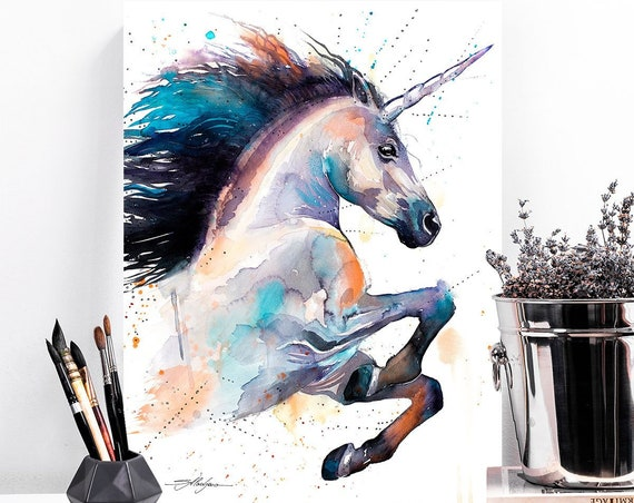 Unicorn watercolor painting print by Slaveika Aladjova, art, animal, illustration, home decor, Nursery, gift, Wildlife, wall art,