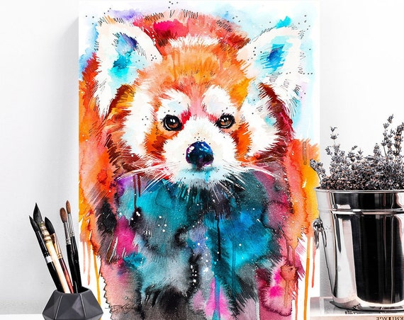 Red panda watercolor painting print by Slaveika Aladjova, art, animal, illustration, home decor, Nursery, gift, Wildlife, wall art