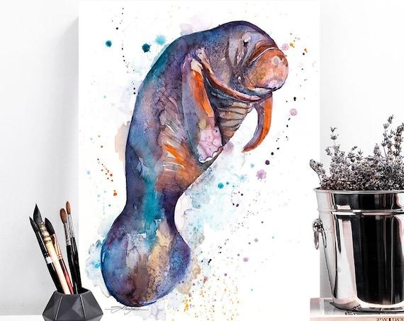Manatee watercolor painting print by Slaveika Aladjova, art, animal, illustration, Sea art, sea life art, home decor, Wall art