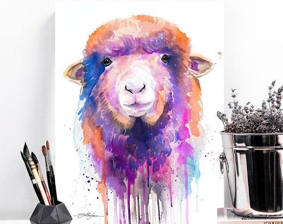 Colorful Sheep watercolor painting print by Slaveika Aladjova, art, animal, illustration, home decor, Nursery, gift, goat, farm, wall art,