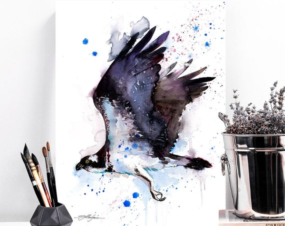 Osprey watercolor painting print by Slaveika Aladjova, art, animal, illustration, bird, home decor, wall art, gift, Wildlife
