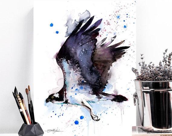 Osprey watercolor painting print by Slaveika Aladjova, art, animal, illustration, bird, home decor, wall art, gift, Wildlife