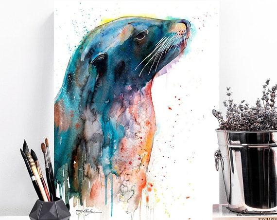 Sea lion watercolor painting print by Slaveika Aladjova, art, animal, illustration, home decor, Nursery, gift, Wildlife, wall art