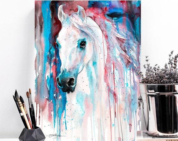 White horse watercolor painting print by Slaveika Aladjova, art, animal, illustration, home decor, Nursery, gift, Wildlife, wall art,