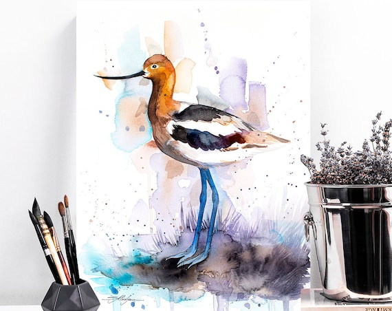 American Avocet watercolor painting print by Slaveika Aladjova,art, animal, illustration, bird, home decor, wall art, gift, portrait, Flower