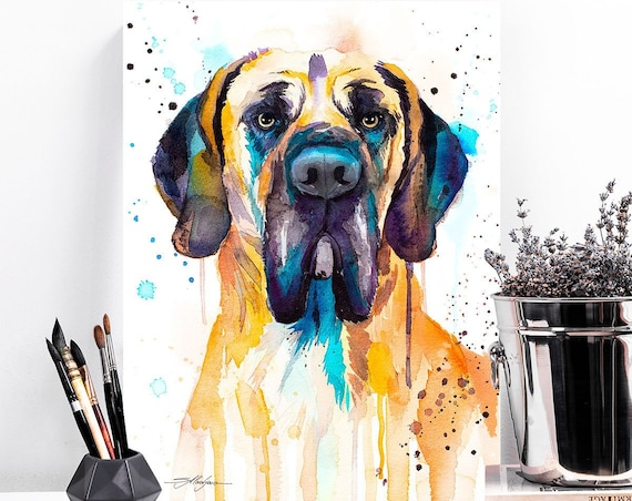 Fawn Great Dane watercolor painting print by Slaveika Aladjova, art, animal, illustration, home decor, Nursery, Contemporary, dog art