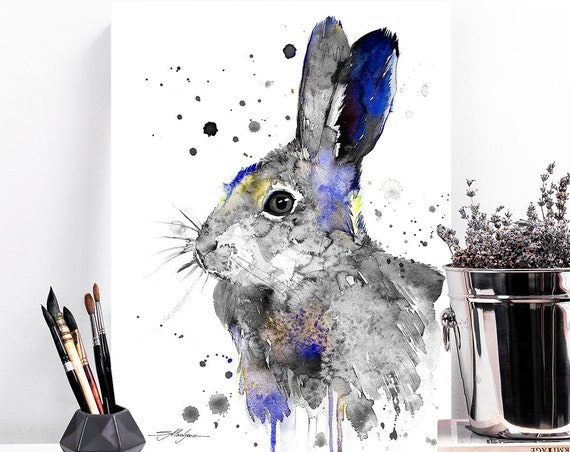 Black and white Hare rabbit watercolor painting print by Slaveika Aladjova, art, animal, illustration, home decor, Nursery, gift, Wildlife
