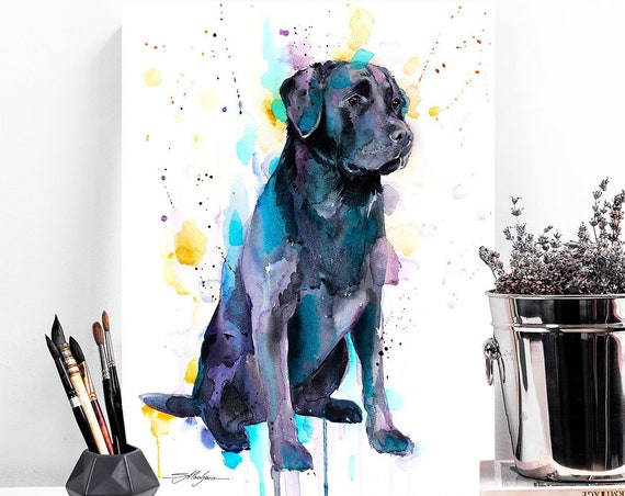 Black Labrador watercolor painting print by Slaveika Aladjova, animal, illustration, home decor, Nursery, Contemporary, dog art, wall art