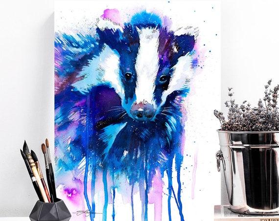 Badger watercolor painting print by Slaveika Aladjova, art, animal, illustration, home decor, Nursery, gift, Wildlife, wall art