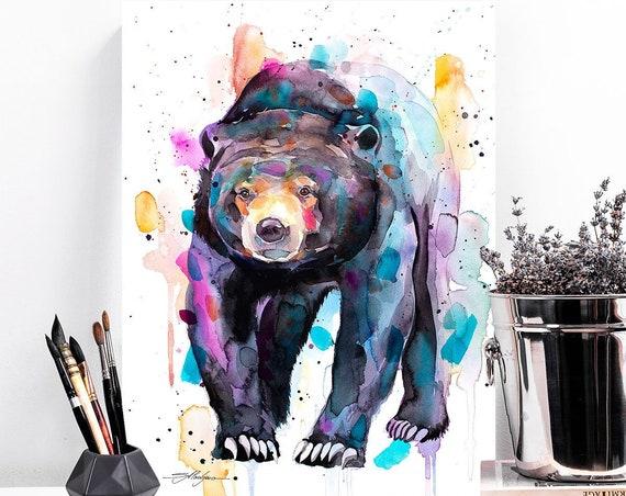 Sun bear, Honey bear watercolor painting print by Slaveika Aladjova, art, animal, illustration, home decor, Nursery, gift, Wildlife,
