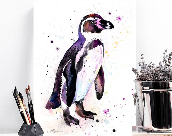 Humboldt penguin watercolor painting print by Slaveika Aladjova, animal, illustration, Sea art, sea life art, nautical, ocean art, bird