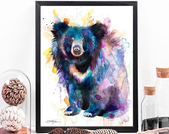 Sloth bear watercolor framed canvas by Slaveika Aladjova, Limited edition, art, animal watercolor, animal illustration,