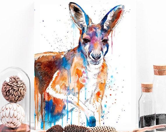 Kangaroo watercolor painting print by Slaveika Aladjova, art, animal, illustration, home decor, Nursery, gift, Wildlife, wall art