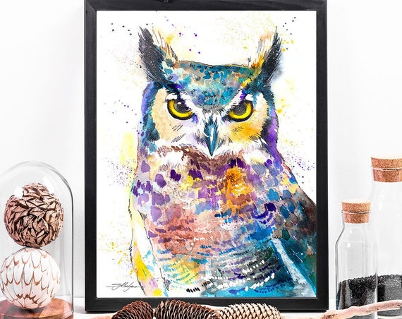 Horned Owl watercolor framed canvas by Slaveika Aladjova, Limited edition, art, animal watercolor, animal illustration,bird art