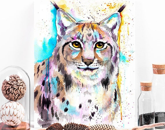 Eurasian lynx watercolor painting print by Slaveika Aladjova, art, animal, illustration, home decor, Nursery, gift, Wildlife, wall art,