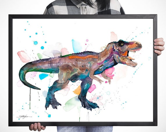 Tyrannosaurus rex, T rex dinosaur watercolor framed canvas by Slaveika Aladjova, Limited edition, art, animal watercolor, extra large print