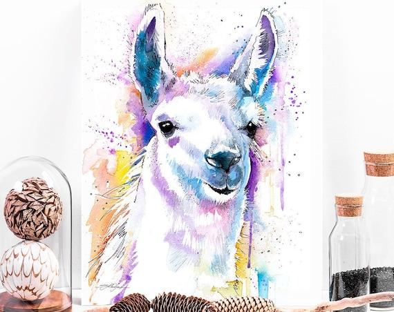 Llama watercolor painting print by Slaveika Aladjova, animal art, illustration, wall art, home decor, gift, Giclee Print, farm, portrait
